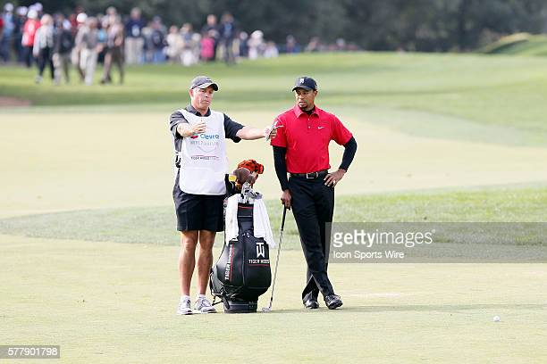 Tiger Woods and his caddie Steve Williams during final round of the Chevron World Challenge at the Sherwood Country Club in Thousand Oaks CA