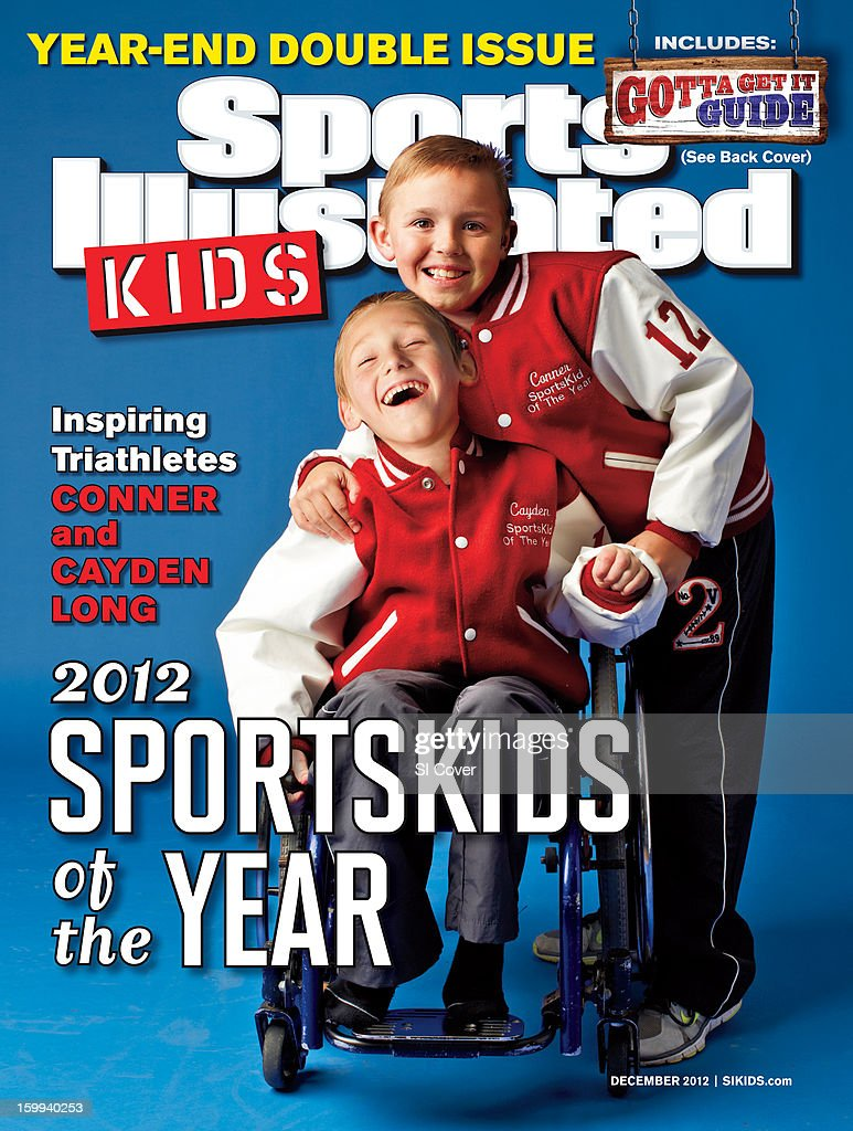 December 2012 Sports Illustrated Kids Cover: Portrait of Cayden Long (L) and Connor Long (R) posing during photo shoot at their family home. Connor and Cayden, who has hypertonic cerebral palsy, competed together in the Nashville Kids Triathlon. Todd Rosenberg X155732 )