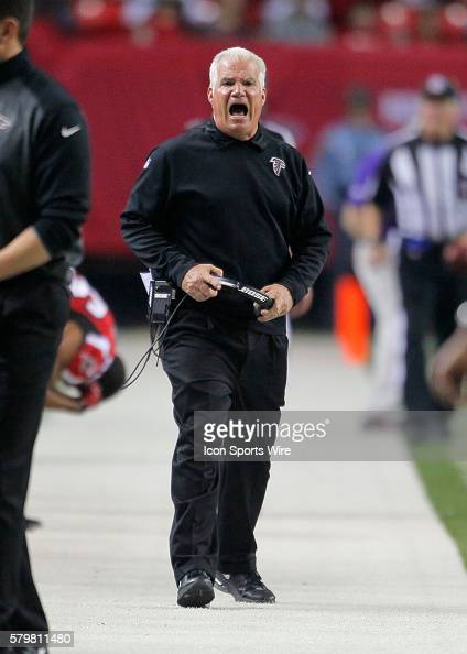 Atlanta Falcons head coach Mike Smith reacts in the Carolina Panthers 343 victory over the Atlanta Falcons at the Georgia Dome in Atlanta Georgia