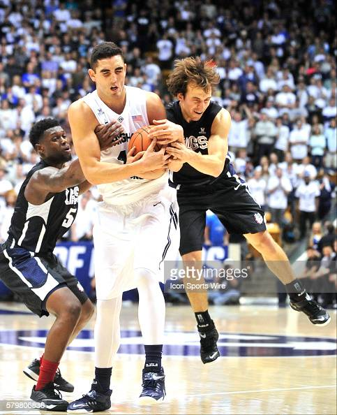 Brigham Young Cougars center Corbin Kaufusi gets the ball slapped away from him on an inbound play late in the game from him by Gonzaga Bulldogs...