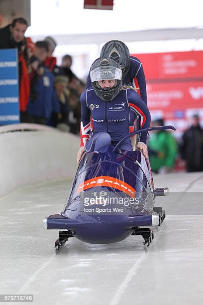Great Britain 1 driven by Mica McNeill with brakeman Nikki McSweeney at the start in the Women's Bobsled of the FIBT Bobsled and Skeleton World Cup...