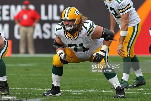 Green Bay Packers guard Josh Sitton gets set on the line during the NFL regular season game between the Green Bay Packers and Tampa Bay Buccaneers at...