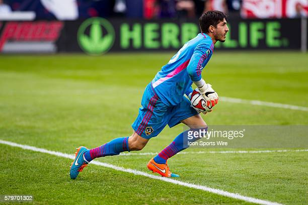 Los Angeles Galaxy goalkeeper Jaime Penedo during the MLS Cup between the Los Angeles Galaxy and the New England Revolution at the StubHub Center in...