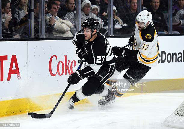 Los Angeles Kings Defenseman Alec Martinez [5300] and Boston Bruins Right Wing Simon Gagne [1601] during an NHL game between the Boston Bruins and...