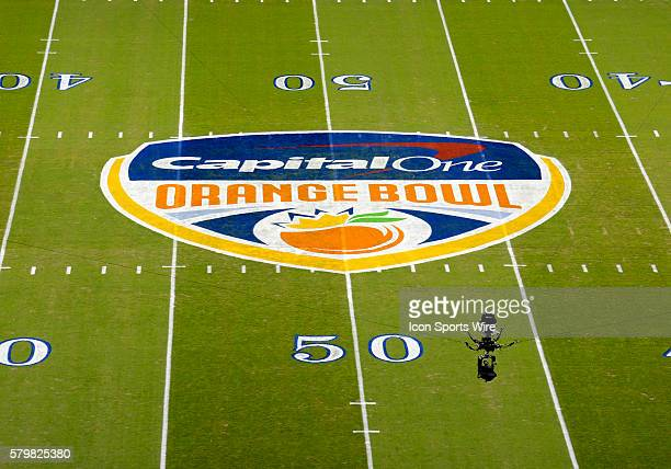 Overhead view of the Capital One Orange Bowl logo on the field before the start of the Capital One Orange Bowl game between Mississippi State...