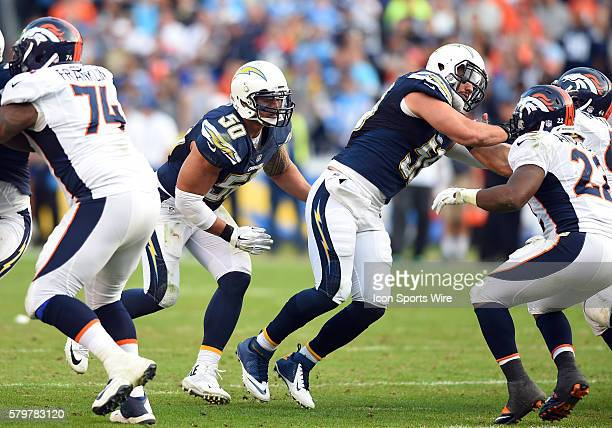 San Diego Chargers Linebacker Manti Te'o [18937] and San Diego Chargers Linebacker Andrew Gachkar [15793] during an NFL game between the Denver...