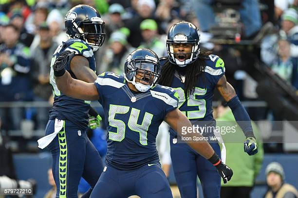 Seattle Seahawks Linebacker Bobby Wagner [17593] celebrates with Seattle Seahawks Cornerback Richard Sherman [17049] and Seattle Seahawks Safety Kam...
