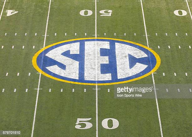 The SEC logo painted on the field at the 50 yard line in the Alabama Crimson Tide 4213 victory over the Missouri Tigers in the SEC Championship at...
