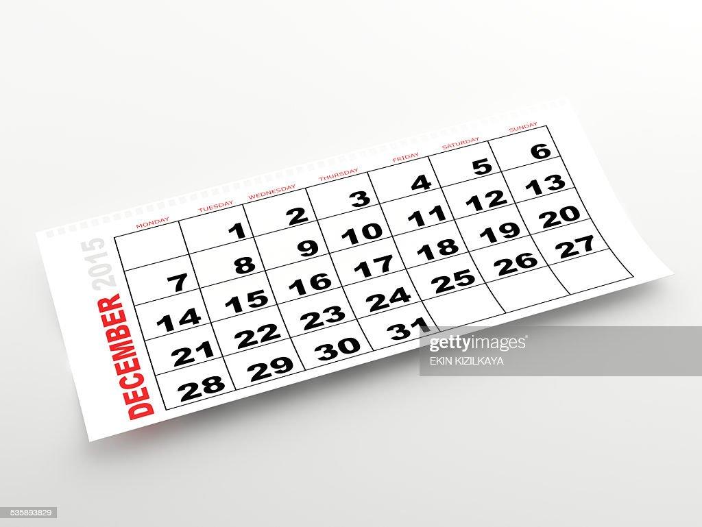 December 2015 calendar : Stock Photo
