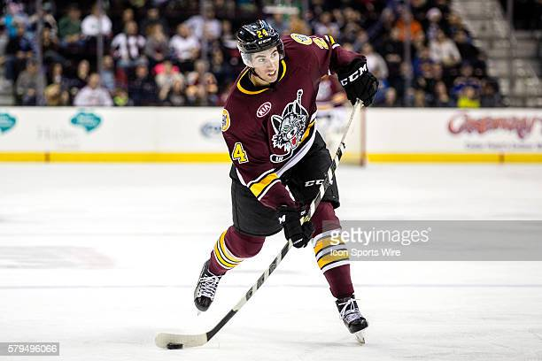 Chicago Wolves D Jordan Schmaltz shoots the puck during the third period of the AHL hockey game between the Chicago Wolves and Lake Erie Monsters at...