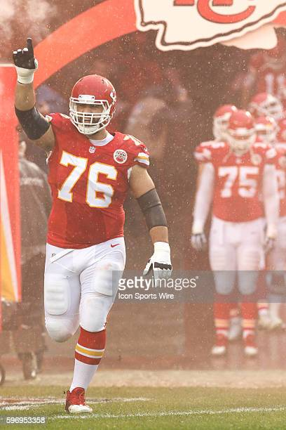 Kansas City Chiefs offensive guard Laurent DuvernayTardif during the game between the San Diego Chargers and the Kansas City Chiefs at Arrowhead...