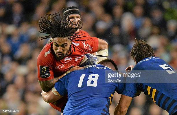 19 December 2015 Ma'a Nonu Toulon is tackled by Martin Moore and Mike McCarthy Leinster European Rugby Champions Cup Pool 5 Round 4 Leinster v RC...