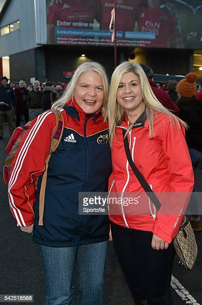 27 December 2015 Munster supporters and sisters Margie and Trish O'Sullivan from Kilmannagh Co Limerick ahead of the game Guinness PRO12 Round 10...