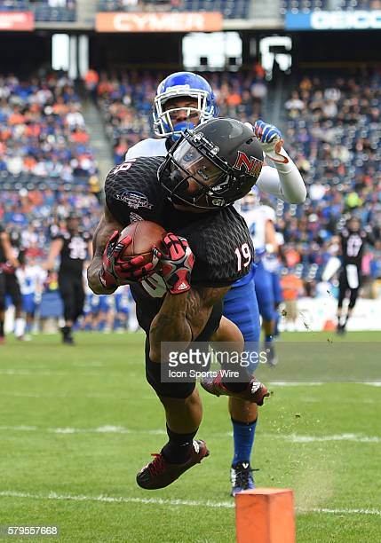 NIU Kenny Golladay narrowly misses catching a pass during the Poinsettia Bowl game between the Boise State Broncos and the Northern Illinois Huskies...