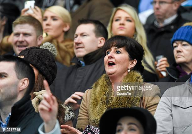 26 December 2015 Racegoers react as jockey Mark Walsh wins the Clayton Hotel Maiden Hurdle on Coney Island Leopardstown Christmas Racing Festival...