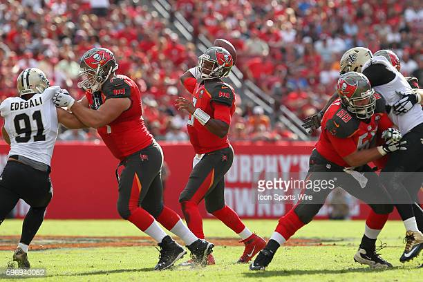 Tampa Bay Buccaneers quarterback Jameis Winston delivers a pass during the NFL game between the New Orleans Saints and Tampa Bay Buccaneers at...