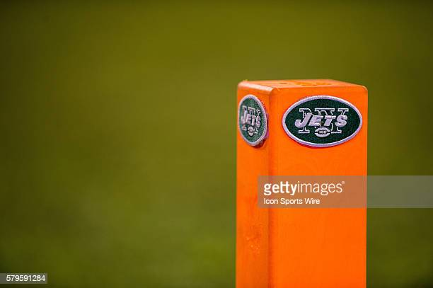 The Jets logo emblazed on the goal post marker during the NFL game between the New England Patriots and the New York Jets played at MetLife Stadium...