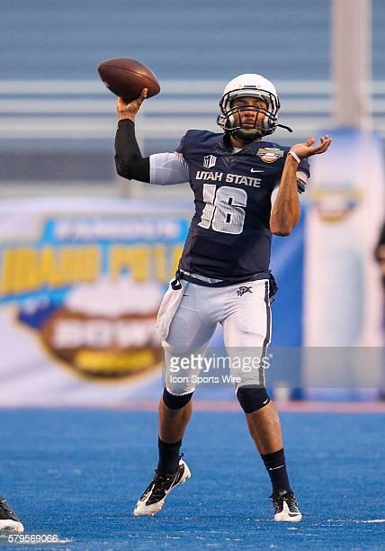 Utah State Aggies quarterback Chuckie Keeton during Famous Idaho Potato Bowl game between the Akron Zips and the Utah State Aggies at Albertsons...