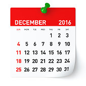 December 2016 - Calendar. Isolated on White, Background. 3D Rendering