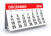 December 2016 Calendar. Isolated on White Background. 3D Rendering