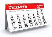 December 2017 Calendar. Isolated on White Background. 3D Illustration
