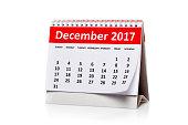 December 2017 Calendar isolated on white background