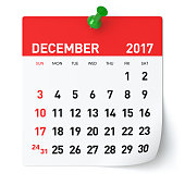 December 2017 - Calendar. Isolated on White Background. 3D Illustration