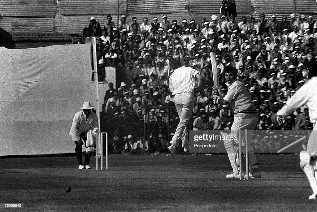December 20th England's Bob Cottam leaps with delight after bowling India's FM Engineer in the first day of the New Delhi first test match