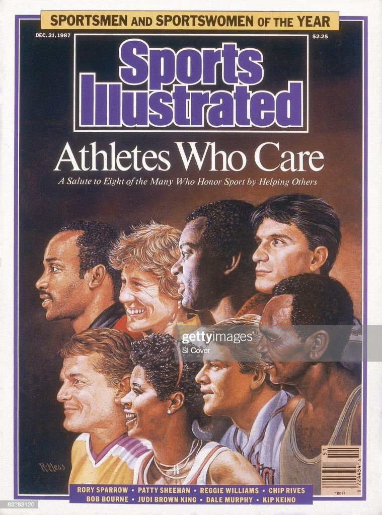 December 21 1987 Sports Illustrated Cover Athletes Who Care Sportspersons of the Year Illustration of Top Row Chicago Bulls basketball player Rory...