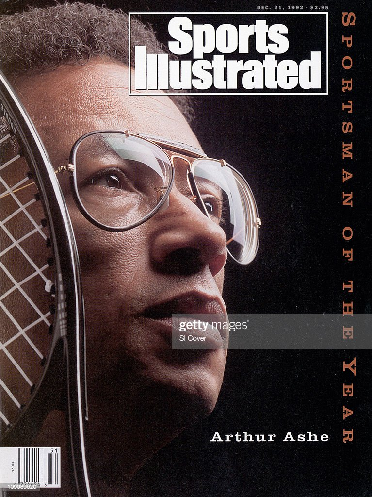 December 21, 1992 Sports Illustrated Cover:Tennis: Sportsman of the Year: Closeup portrait of <a gi-track='captionPersonalityLinkClicked' href=/galleries/search?phrase=Arthur+Ashe&family=editorial&specificpeople=215183 ng-click='$event.stopPropagation()'>Arthur Ashe</a> with racket during photo shoot. Equipment.New York City, NY 12/1/1992CREDIT: Michael O'Neill
