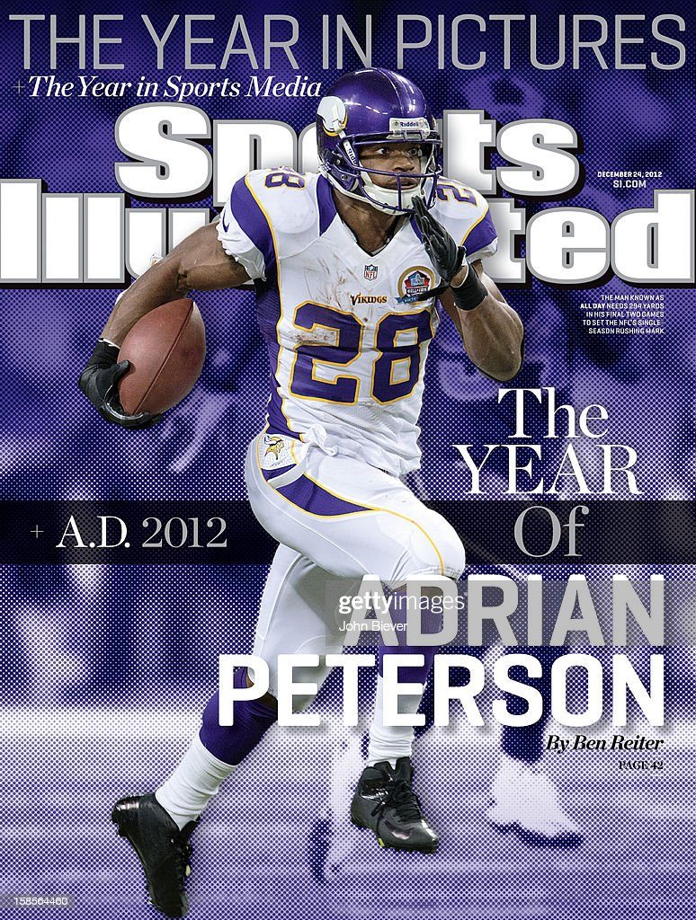 December 24 2012 Sports Illustrated Cover Minnesota Vikings Adrian Peterson in action rushing vs St Louis Rams at Edward Jones Dome St Louis MO...