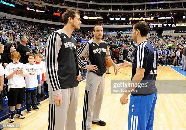 San Antonio Spurs center Tiago Splitter chats with Dallas Mavericks point guard Jose Calderon and San Antonio Spurs shooting guard Manu Ginobili...