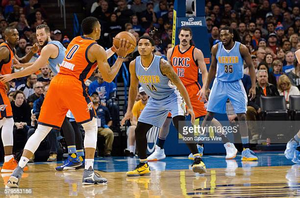 December 27 2015 Denver Nuggets Guard Gary Harris [3738] plays defense on Oklahoma City Thunder Guard Russell Westbrook [1973] in game at Chesapeake...
