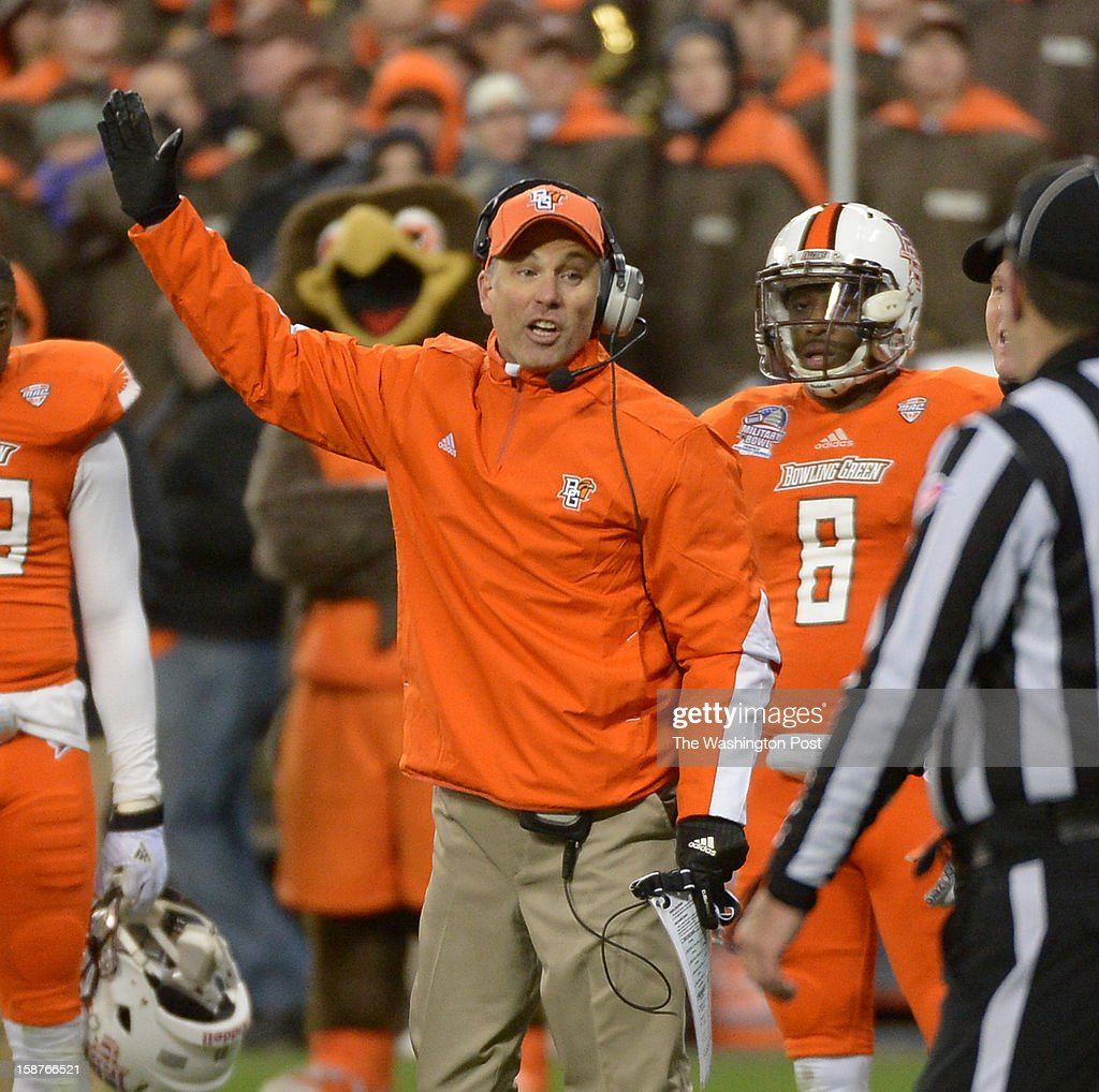 Bowling Green head coach Dave Clawson comes onto the field to get a ruling during 4th quarter action against San Jose State on December 27, 2012 in Washington, DC