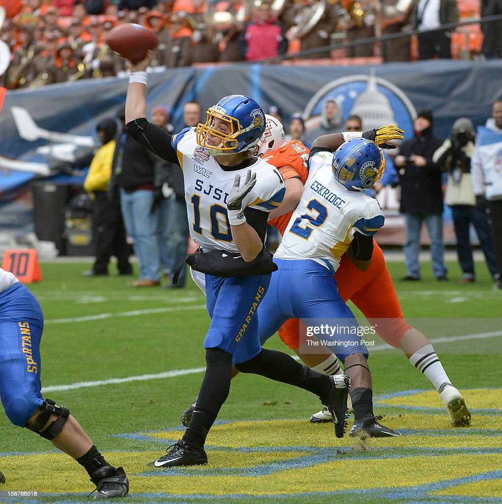 San Jose State quarterback David Fales (10) delivers a pass during 2nd quarter action against Bowling Green on December 27, 2012 in Washington, DC