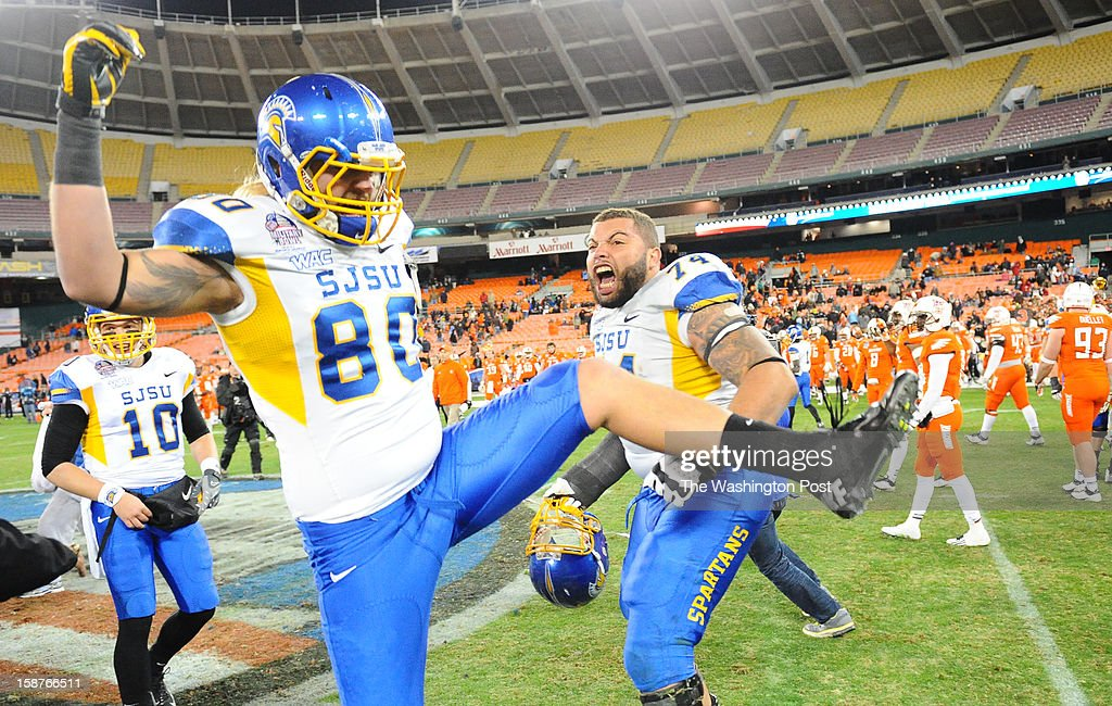 San Jose State tight end Max Miller (80) andguard Ryan Jones (74) celebrate their 29-20 win over Bowling Green on December 27, 2012 in Washington, DC