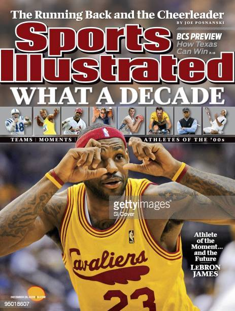 December 28 2009 Sports Illustrated Cover Basketball Cleveland Cavaliers LeBron James gesturing pretending to take a picture during player...