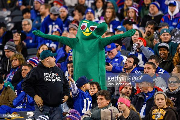 a fan dressed as Gumby during the second half of a NFL Eastern matchup between the Philadelphia Eagles and the New York Giants at MetLife Stadium in...
