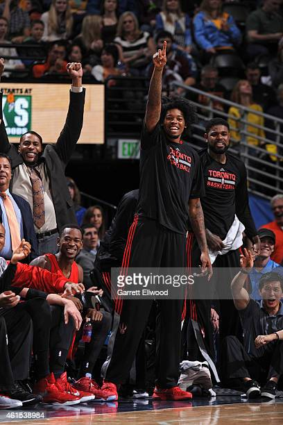 Lucas Nogueira of the Toronto Raptors celebrates during a game against the Denver Nuggetsduring the game on December 28 2014 at Pepsi Center in...