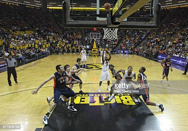 Iowa Hawkeyes guard Bryce Cartwright shoots a freethrow during the second half of an NCAA college basketball game at CarverHawkeye Arena in Iowa City...