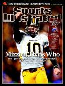 December 3 2007 Sports Illustrated Cover College Football Missouri QB Chase Daniel victorious during game vs Kansas Kansas City MO