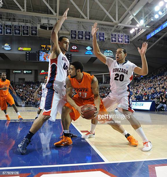 Oklahoma State forward Marshall Moses looks to pass during a game between Oklahoma State and Gonzaga in Spokane Washington