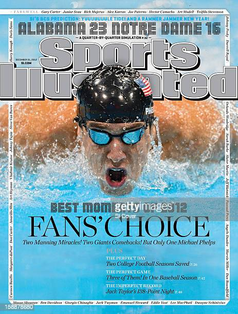 December 31 2012 Sports Illustrated Cover 2012 Summer Olympics Closeup of USA Michael Phelps in action during Men's 100M Butterfly Final at Aquatics...