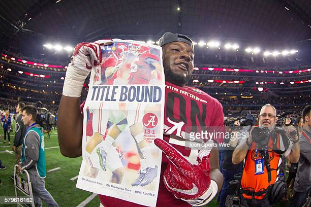 Alabama Crimson Tide celebrates after winning the NCAA Football SemiFinal Cotton Bowl game between the Michigan State Spartans and the Alabama...