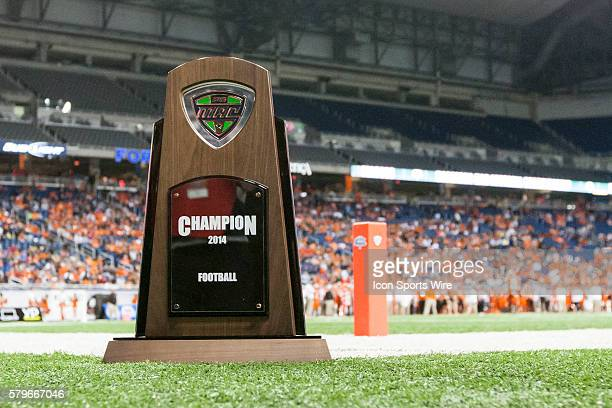 A general view of the MAC championship trophy during game action between the Northern Illinois Huskies and the Bowling Green Falcons in the...