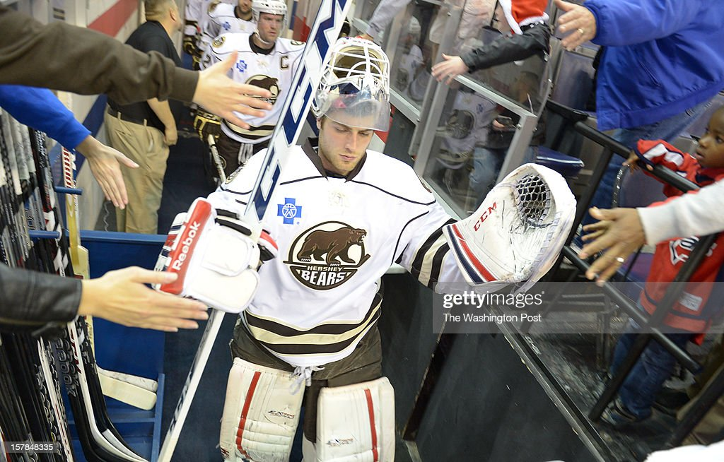 Hershey Bears G Braden Holtby (1) leads his team onto the ice to play the Norfolk Admirals in AHL action on December 6, 2012 in Washington, DC