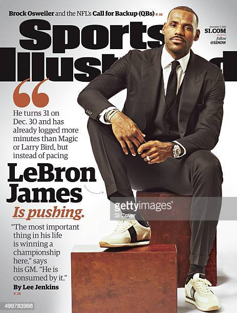 December 7 2015 Sports Illustrated Cover Portrait of Cleveland Cavaliers LeBron James casual during photo shoot at Cleveland Clinic Courts...