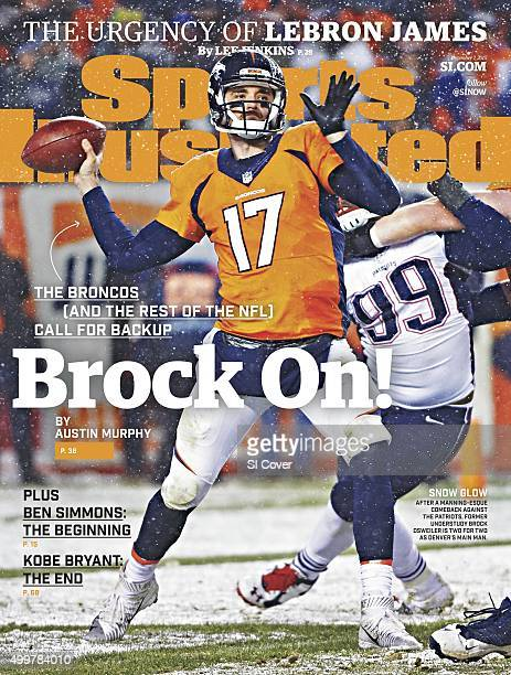 December 7 2015 Sports Illustrated Cover Denver Broncos QB Brock Osweiler in action pass vs New England Patriots at Sports Authority Stadium at Mile...