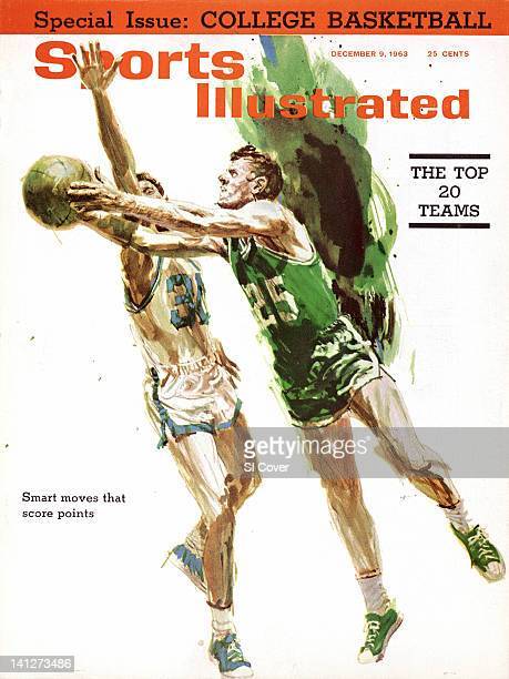 December 9 1963 Sports Illustrated Cover Illustration of Boston Celtics Frank Ramsey in action vs SI writer Frank Deford painting by Art Department...