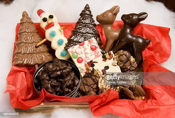 December 9 2010 Basket of chocolate goodies from Chocolateria milk dark chocolate Christmas trees a Snowman Lollie milk dark chocolate reindeer dark...